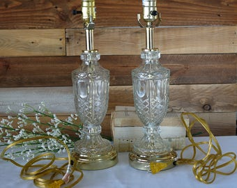 Set of 2 Crystal Lamps - Clear Glass Table lamps - Urn Table Lamps - Cut Crystal Glass - Brass Accent Table Lamps - Hollywood Regency Lamps