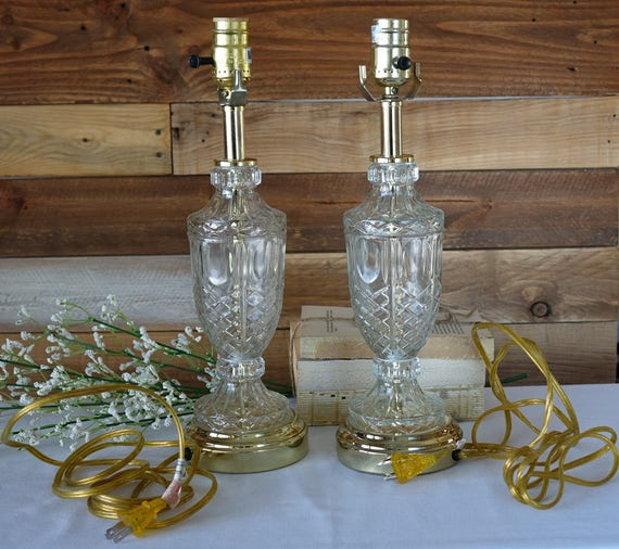 Set of 2 crystal lamps clear glass table lamps urn table like this item aloadofball Images