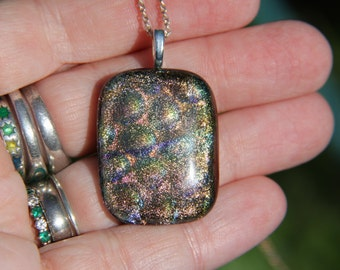 Gold prismatic dichroic glass pendant ,  dichroic glass necklace, gold fused glass necklace, fused glass pendant, prism pendant, birthday