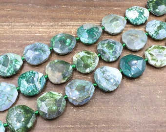 Faceted Green Agate Slice Beads Dragon Agate Slab Pendant Beads Large Agate Nugget Beads Focal Jewelry Beads 28-32*30-35mm 12 Pieces Strand