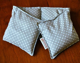 Microwavable Neck Wrap, Aromatherapy, Hot/Cold Pack, Handmade by A Very Sweet Life - Gray and White Polka Dots