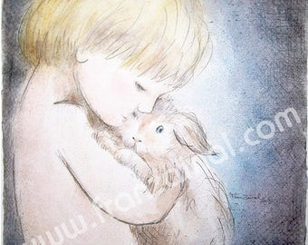 """Painting """"the 2 friends : Watercolored graphite drawing   child 's portrait with a  rabbit  30x30cm- Arches paper paper"""