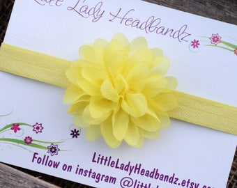 Yellow headband yellow baby headband chiffon flower - Easter headband baby headband chiffon - infant toddler