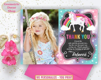Unicorn Thank You Card - Unicorn Birthday Thank You Card Rainbow Birthday Party Photo Photograph THU15