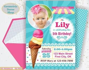 Ice cream Birthday Invitation, Sweet Birthday Invite, Summer Invites, Girl, Ice cream cone, Scoop, Pink Teal Yellow, Photo, Photograph BDIC3