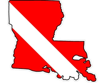 Louisiana State (Y19) Diver Down Flag Vinyl Decal Sticker Car Laptop/Netbook