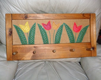 "xrare,ooak vintage handmade wood hanger&quilted tulips on burlap backing wall hanger-12"": x 24""-"