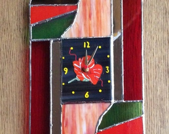 Poppyclock Stained and Fused Glass Wall Clock