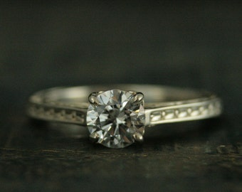 Silver Engagement Ring~Moissanite Engagement Ring~Cubic Zirconia Engagement Ring~CZ Ring~White Topaz Ring~White Sapphire Ring~Enchanted Ring