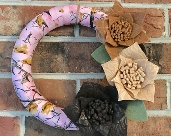 Camouflage Wreath | Camo Wreath | Pink Camo Wreath | Hunter Wreath | Wrapped Wreath | Liberty Way Designs