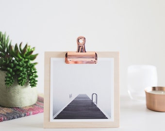 "5x5 Dock and Fog Print on a Birch Clipboard + Copper Clip - Fine Art Square Photo Display Minimalist Modern Art ""The Edge - Clipboard"""