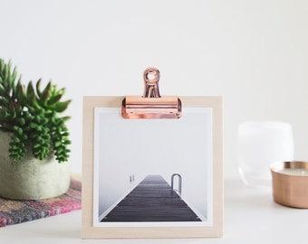 "5x5 Dock and Fog Print on a Birch Clipboard + Copper Clip - Fine Art Square Photo Display Minimalist Modern Art ""The Edge - Clipboard"""