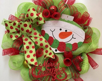 Snowman Christmas Wreath with Lime Green and Red Snowman Sign, Large Polka Dot Bow, Christmas Ornaments