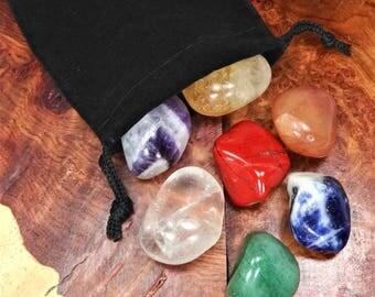 Chakra Stone Set - Reiki Stones - 7 Tumbled Crystals and Gemstones - Seven Chakras (BR4/5) Healing Crystals Quartz Amethyst Citrine Sodalite