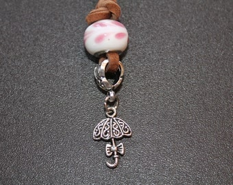 Leather Charm Necklace-Umbrella