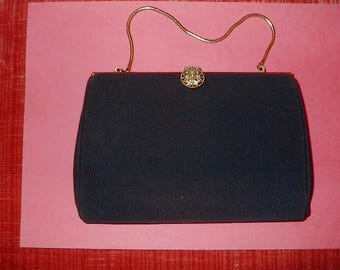 VINTAGE Evening Bag  Black Material Gold trim & latch