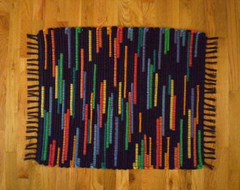 Handwoven Wool Rag Rug Primary Colors and Black