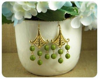 Green Colored Glass Beads, Brass Dangle Earrings