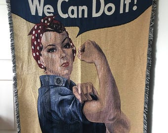HUGE Rosie the Riveter Tapestry Throw Blanket