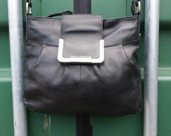 Jasper Conran Vintage black leather messenger bag, Black leather cross body messenger bag,  Satchel messenger, cross body messenger