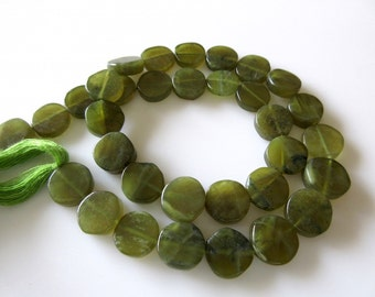 Vessonite Green Garnet Smooth Flat Coin Beads, 11mm Each, 13 Inch Strand, GDS250