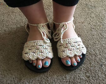 Crocheted strappy sandals