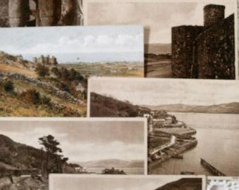 Vintage Welsh Postcards. 7 Old Postcards of Wales. 1930s/1940s Postcards From Harlech and Aberdovey.  Harlech Castle Postcards.