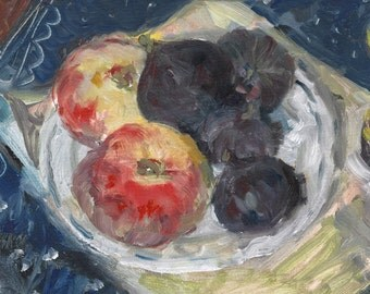 """Peaches and Figues. Fruit painting. Still life painting. Art print from original oil painting, wall art (8x8"""", 10x10"""" or 11x11 inches)"""