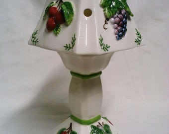 B.F. Sherrill Designs Fruit Candle Lamp 3D Pedestal White Tealite Candle Holder Porcelain Raised Fruits