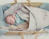 "Swaddle blanket 31x31"", baby swaddling blanket, newborn infant adjustable wrap, baby quilt, personalized swaddle blanket, linen woolen duvet"