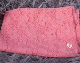 Coral Newborn Lace Wrap, Newborn Photo Prop, Newborn Wrap, Lace Wrap,Photo Prop,Baby Wrap,Photography Prop,Baby Photo Prop,Stretch Lace Wrap