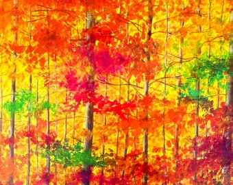Table painting autumn landscape - painting autumn landscape, autumn forest table
