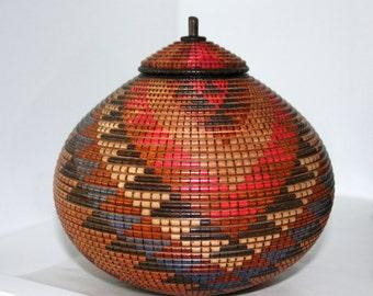 Lidded Vessel with Basket Pattern