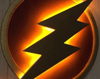 Small - DC Comics Justice League The Flash LED Illuminated Superhero Logo Night Light Wall Art