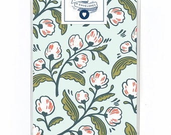 White Trimmings Card Box Set of 5 - Floral Note Card - Single Card Blank Inside