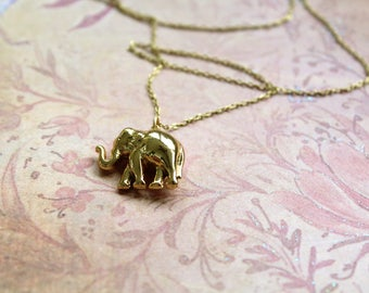 """Vintage Elephant Necklace // Gold Elephant Delicate Necklace // Dainty Jewelry // 30"""" // Gold Tone Chain // Lucky Elephant"""