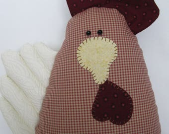 FUNKY CHICKEN PILLOW Handmade Farmhouse Country Red