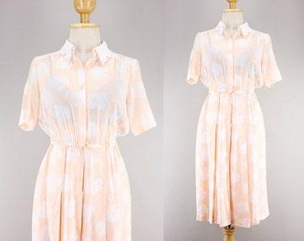 70s Japanese Pastel Pink x White Leaf Print Shirt Dress| Button Up Collared Shirt Secretary Dress| Midi Pleated Skirt| Sheer Cotton Summer S