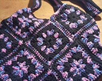 Crocheted Granny Square Purse/Market Bag/Tote