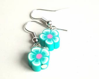 Blue and pink flower - nickle free silver plated hook earrings