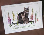Cats in Foxgloves Mother's Day Card, Cat Glitter Flowers Mother's Day Card