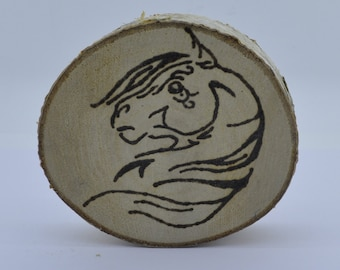 Wooden celtic coaster with a horse. For mug or a cup