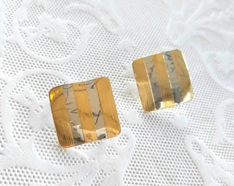 GOLD AND SILVER Vintage Clip On Earrings-Bent Metal, Ribbed, Very Shiny, Square, Striped-All Orders Only 99c Shipping!!