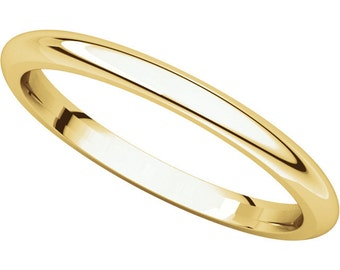 14K Yellow Gold 2mm Comfort Fit Wedding Band for Men & Women Stackable Ring in size 4 to 16