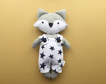 Personalised fox soft toy plushie in grey with star print dungarees newborn baby shower gift girl boy softie