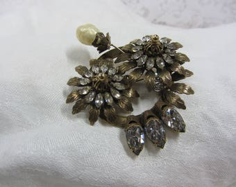Vintage Vendome Statement Floral Brass and Clear Rhinestone Brooch and Pendant