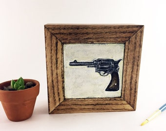 Small Acrylic Painting with Handmade Wood Frame