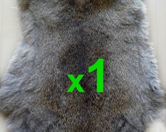 GREY Rabbit Skin Real Fur Pelt Tanned for; dummy, animal training, crafts, TR10