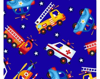Rescue Vehicles Cotton Fabric - Police Car Ambulance Fire Engine Truck Helicopter Search & Rescue Heroes - Quilting, Sheets, Blankets - Blue