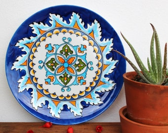 Decorative plate Hand painted plate for hanging. Majolica wall plate. Ceramic plate. Gift for her. Gift for any occasion